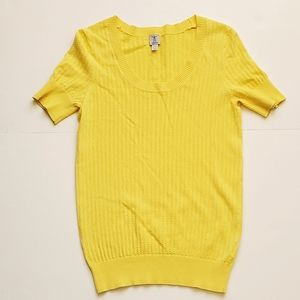 Tristan Knit Yellow Short Sleeve Top  XS